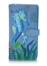 Shagwear Sea Horse Large Zipper Wallet, Sky Blue