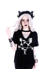 Rose Pentagram Gothic Witchy V-neck with Choker Shirt