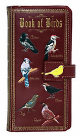 Shagwear Book of Birds Large Zipper Bi-Fold Wallet, Red