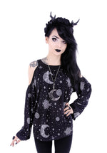 Moon Hippie Crescent Oversized Cold Shoulders Shirt, Black, Small