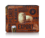 Shagwear Craft Beer Pattern Men's Bi-Fold Faux Leather Wallet, Brown