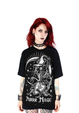 Purr Magic Gothic Cat Oversized T Shirt, Black