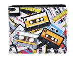 Shagwear Cassette Tapes Pattern Men's Bi-Fold Faux Leather Wallet, Black