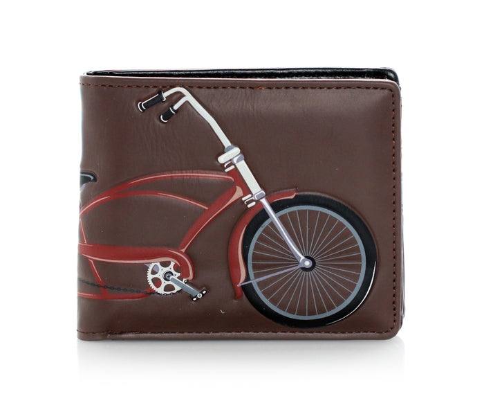 Vintage Bike Men's Bifold Wallet, Brown