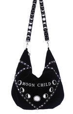 Gothic Black Velvet Moon Child Hobo Bag