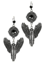 Gothic Silver Angel Leverback Dangle Earrings