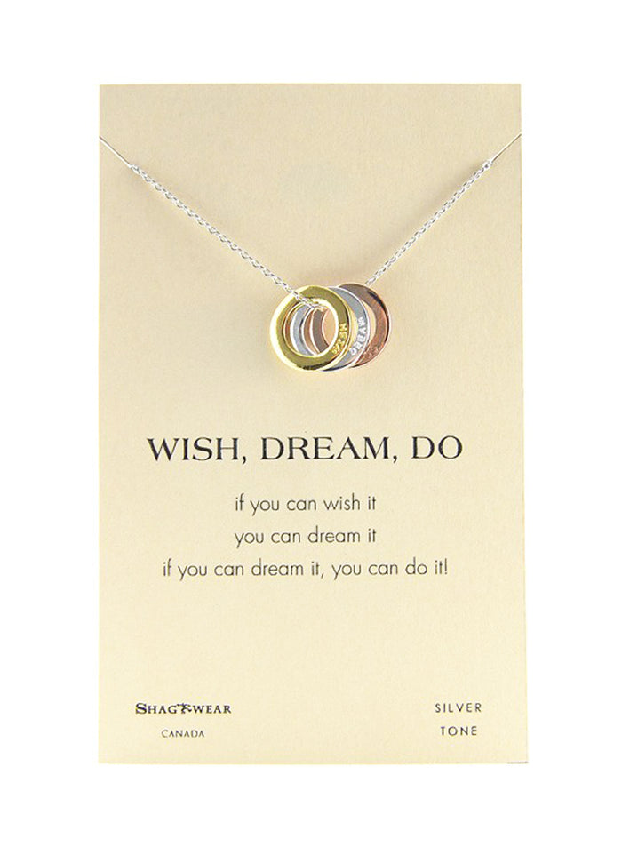 Shagwear Wish, Dream, Do Pewter Tri-Color Necklace