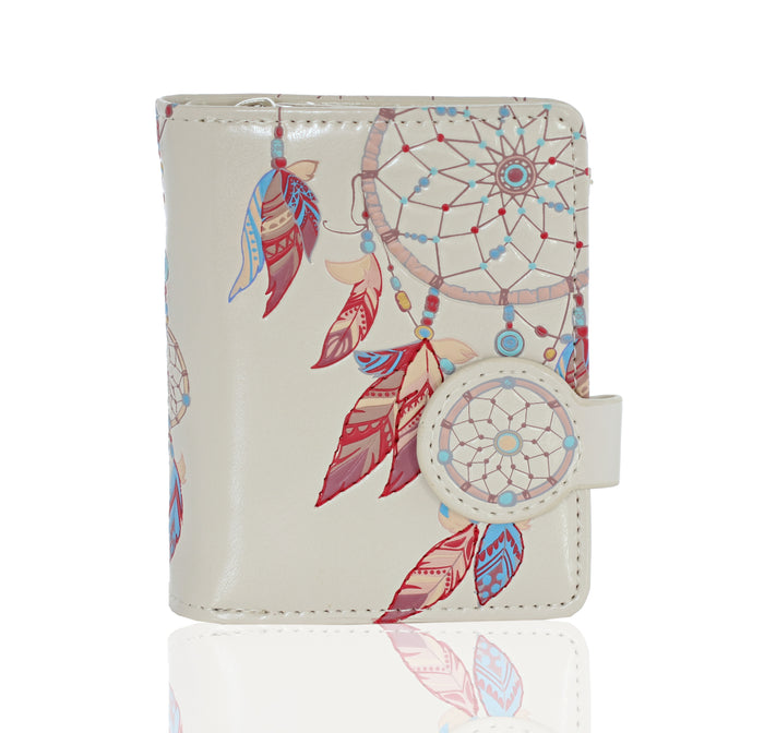 Shagwear Dream Catcher Collage Small Zipper Women's Wallet, Cream