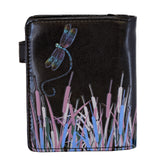 Shagwear Spring Dragonfly Small Zipper Women's Wallet, Black
