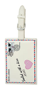 Shagwear Vintage Letter Faux Leather Luggage Tag, Cream