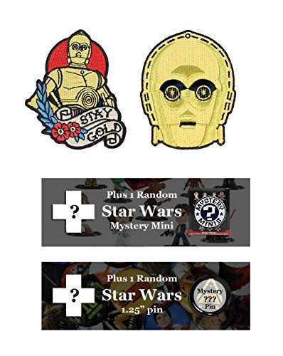 Star Wars C3P0 Patch Bundle: Funko Mystery Mini, and Pin