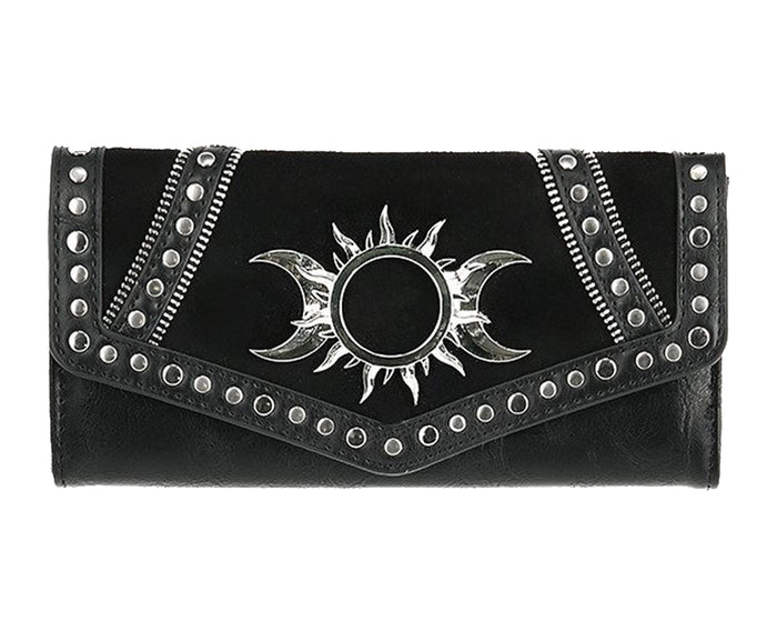 Triple Goddess Sun and Moon Gothic Tri-Fold Wallet, Black