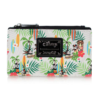 Loungefly Disney Mickey and Minnie Surf Holiday AOP Snap Wallet