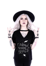 I Need Some Space Constellation Gothic V-neck with Choker Shirt