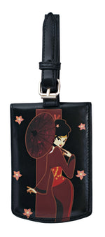 Shagwear Japanese Girl Faux Leather Luggage Tag, Black
