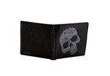 Shagwear Abstract Skull Men's Bi-Fold Faux Leather Wallet, Black