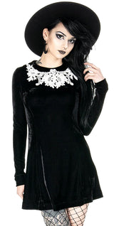 Dolly Black Gothic Cosplay Women's Dress with Lace Collar
