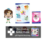 Sailor Moon Bundle: Sailor Jupiter Funko POP! Figure, Sticker Sheet, Button, & Figural 3D Keyring