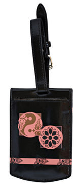Shagwear Henna Patch Faux Leather Luggage Tag, Black