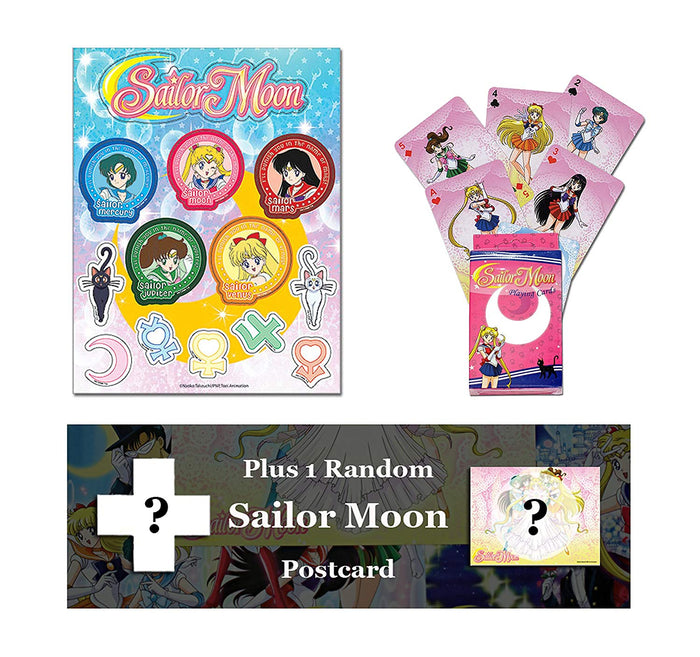 Sailor Moon Sticker Bundle: Sticker Sheet, Playing Cards, Random Postcard