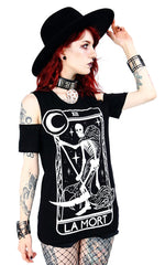 La Mort Gothic Women's Cold Shoulder Shirt, Black