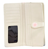 Shagwear Vintage Post Card Large Zipper Women's Wallet, Cream