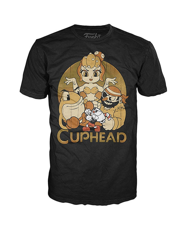 Funko POP Tees: Cuphead - Cuphead and Bosses Unisex T-Shirt, Black