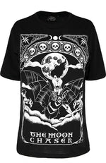 The Moon Chaser Tarot Gothic Oversized Shirt, Black