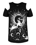 The Goddess of Night Nyx Gothic Cold Shoulder Shirt