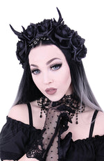 Restyle Gothic Wreath Antlers Roses and Beads Headband