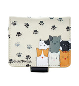 Shagwear Kitty Crowd Small Zipper Wallet, Cream