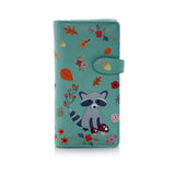 Raccoon and Friends Large Zipper Women's Wallet, Green