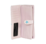 Shagwear Shark Pattern Large Zipper Bi-Fold Women's Wallet, Pink