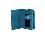 Shagwear Shark Pattern Small Zipper Bi-Fold Women's Wallet, Teal