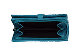 Shagwear Shark Pattern Large Zipper Bi-Fold Women's Wallet, Teal