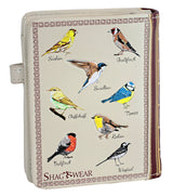 Shagwear Book of Birds Small Zipper Bifold Wallet, Cream