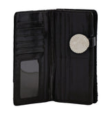 Shagwear Winter Fox Large Zipper Bi-Fold Women's Wallet, Black
