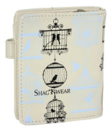 Shagwear Vintage Bird Cages Small Zipper Wallet, Beige