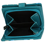 Shagwear Puppy Pattern Small Zipper Women's Wallet, Teal