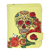 Shagwear Sugar Skull Roses Small Zipper Women's Wallet, Yellow