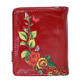 Shagwear Sugar Skull Roses Small Zipper Women's Wallet, Red