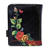 Shagwear Sugar Skull Roses Small Zipper Women's Wallet, Black