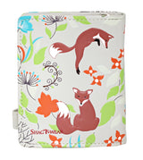 Shagwear Forest Foxes Small Zipper Women's Wallet, Cream