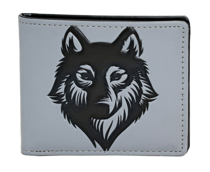 Shagwear Spirit Wolf Men's Faux Leather Bifold Wallet, Grey