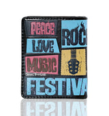 Shagwear Music Festival Poster Small Zipper Women's Wallet, Black