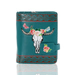 Shagwear Bull Horns with Butterflies Small Zipper Women's Wallet, Teal
