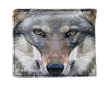 Shagwear Portrait of a Wolf Men's Faux Leather Bifold Wallet