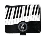 Shagwear Piano Symphony Small Zipper Women's Wallet, Black