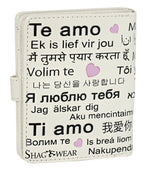 Shagwear Languages of Love Small Bi-Fold Zipper Wallet, Cream