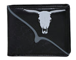 Shagwear Bull Skull Men's Faux Leather Bifold Wallet, Black